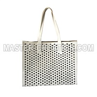 perforated leather handbag