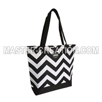 black and white chevron bag